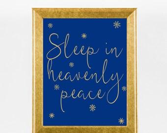Sleep In Heavenly Peace Christmas Carol Holiday Decor - Dark Blue Xmas Print - Snowflakes / Winter Wall Art - Instant Download - 4 Sizes