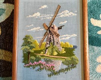1974 embroidered windmill wall hanging