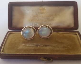Vintage moonstone earrings, silver moonstone earrings, moonstone jewelry