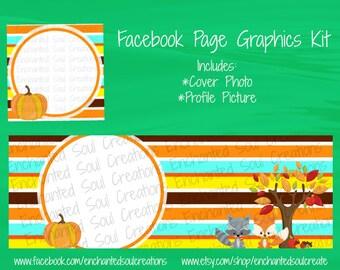 Autumn Facebook Set - Facebook Cover - Facebook Timeline Cover - Fall Stripes Cover - Fall Cover - Facebook Banner - Business Graphics