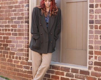 Olive Green Double Breasted Cotton Blazer