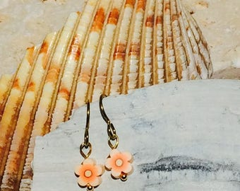 Gold niobium delicate orange fimo clay bead flower perfect for sensitive ears small light weight, flower earring for allergy prone ears