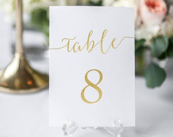 Gold Table Numbers Printable - Gold faux foil table card set - Instant Download PDF - #1-30 single or double sided -  5x7 inches - #GD0815