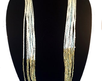Layering Gold necklace,White &Gold beaded Necklace,Bohemian,Boho chic,Minimalistic Statement Modern Jewelry by TANEESI