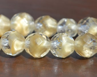 12 Vintage Clear Tan Givre German Glass Beads Faceted 8mm