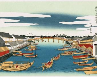 "Japanese Ukiyo-e Woodblock print, Shotei Hokuju, ""View of Nihonbashi Bridge """