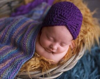 Newborn Beanie - Purple Turban Hat - Baby Beanie Hat - Purple Petal