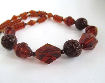 Amber Art Deco Glass Bead Necklace, Art Deco Choker, Rootbeer Brown, Etched Glass Beads, Antique Jewelry, Moonlilydesigns, Vintage Beads,