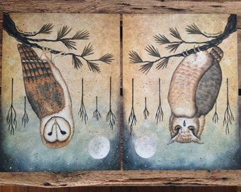 Owls. Hoot Owl or Barn Owl Full Moon art prints. Night Visitors. Contemporary, Primitive New England style folk art by Donna Atkins