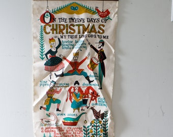 The Twelve Days of Christmas Banner Christmas Fabric Artwork Christmas Decor Vintage Christmas Twelve Days of Christmas Wall Hanging Canvas