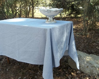 Blue White Check Tablecloth Custom Blue Check Table Cloth French Country Farmhouse Decor Available in Gray White Check