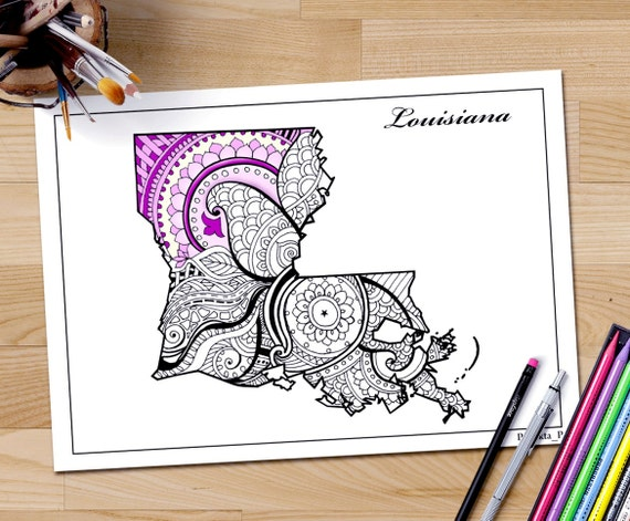 Louisiana state map Adult coloring page printable July 4th