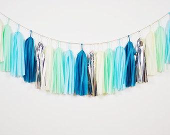 Aqua Bliss Tassel Garland, Aqua Mint Garland, Aqua Wedding Garland, Aqua Nursery, Blue Mint Nursery, Blue Baby Shower, Aqua Baby Shower