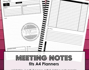 Meeting Notes Printables, A4 Filofax refill, A4 disc bound Planner systems, A4 ring binders. Instant download, pdf, effective note taking