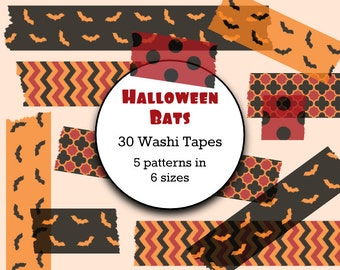 30 x Halloween Clip Art - Digital Washi Tape - Instant Download, Commercial Use,Halloween Washi Tape Digital Paper,Digital Clipart Halloween