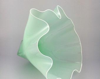 Hand Blown Glass Bowl - Opaque Mint Shell Bowl Form by Jonathan Winfisky