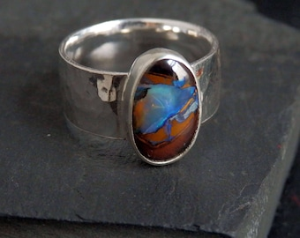 Australian boulder opal ring / opal ring / October birthstone / boulder opal jewelry / blue opal / ready to ship / men's opal ring / size 9