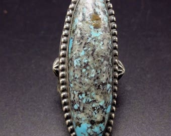 Signed NAVAJO Stamped Sterling Silver & TURQUOISE Ring, size 6.5, Long  and Elegant