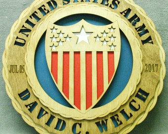 "Custom 12"" Wood US Army Adjutant General Wall Tribute - FREE SHIPPING"