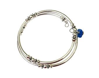 Boho Bracelet Wrap-A-Round Bangle Sterling Silver Jewelry Sea Glass Jewelry Gift for Women Best Friend Birthday Gifts Layering Bracelet