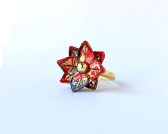 Origami Ring // Lotus Flower Ring // Red Gold Japanese Yuzen Chiyogami // Statement Ring // Adjustable // Gifts for Her // First Anniversary
