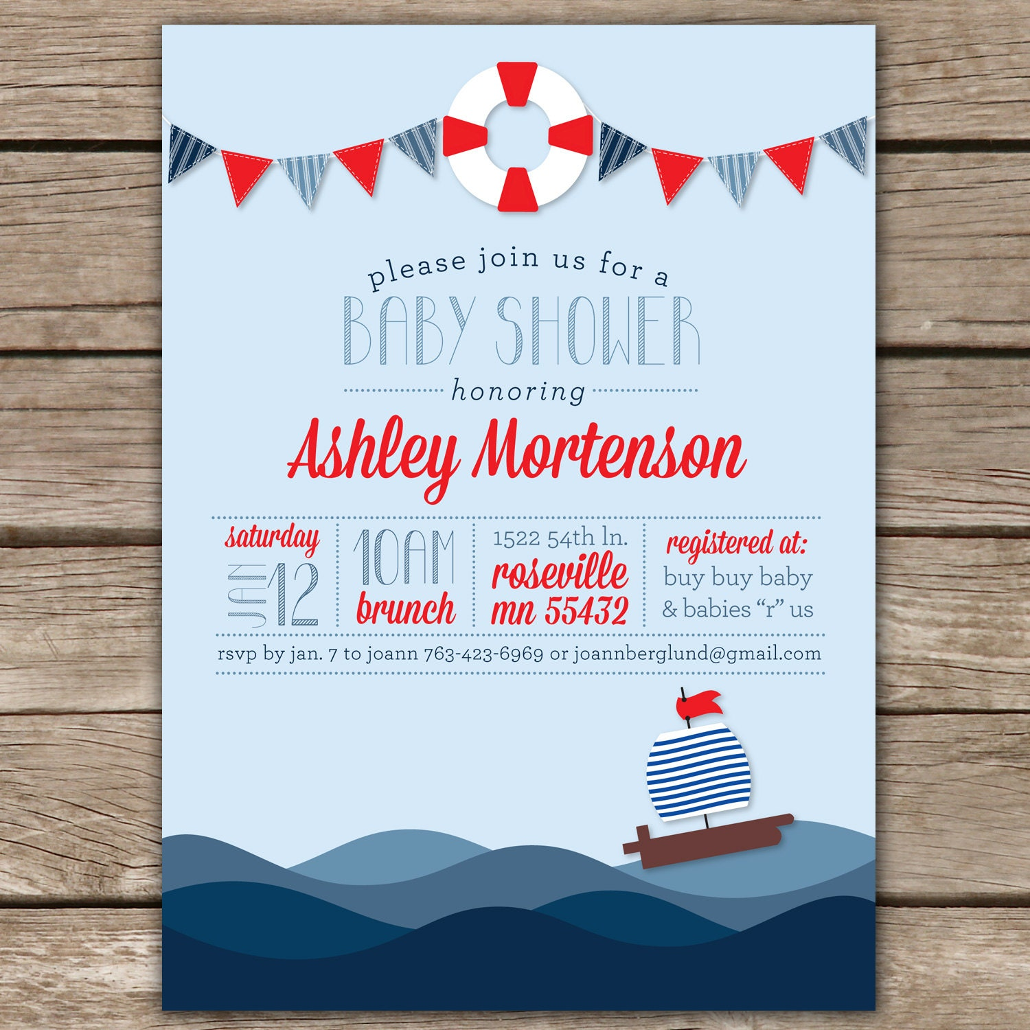 Nautical shower ii custom digital baby shower invitation zoom filmwisefo