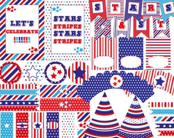 Stars & Stripes Printable Party Kit, Instant Download, Editable, Memorial Day, Fourth Of July, Independence Day, 4th