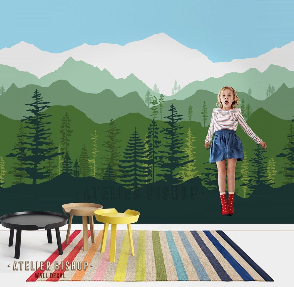 Wallpaper Ombre: Peel & Stick Removable Wallpaper Ombre Gradient Mountain Pine