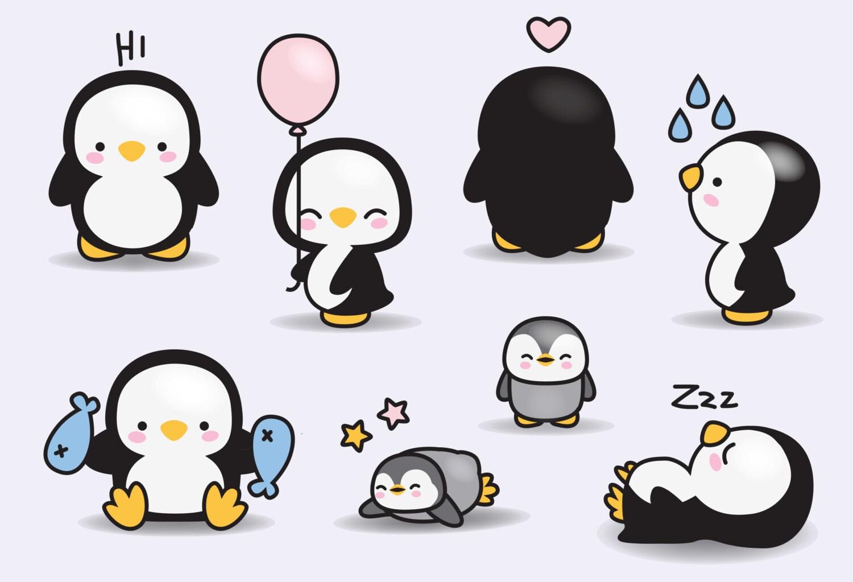 premium vector clipart kawaii penguins cute penguins clipart set rh etsystudio com cute baby penguin clipart Cute Penguin Drawings