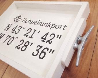Nautical GPS Coordinates Tray - personalized white wooden tray, nautical tray, coastal decor, nautical wedding, wedding gift, compass rose