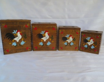 Rooster Wood Canister 4 pc Set Nesting Dovetailed Japan