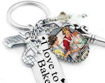 Cooks Key Chain, Kitchen Keychain, Baking Charms, Key Chain Jewelry, Crystal Key Chain, Cooking, Baker Jewelry
