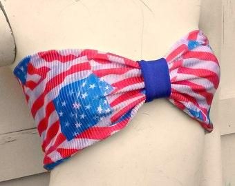 old glory distressed American Flag bow Bandeau bikini top geek swim bra