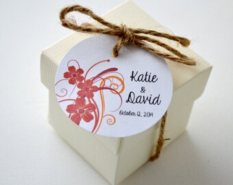 Flower Swirl - Round Matte Label Tags - Custom Wedding Favor & Gift Tags - Choice of Colors