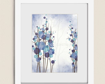 11 x 14 Blue Purple Wall Art for Bedroom, Tree Wall Decor Office Art, Modern Room Wall Art, Interior Decorating (239)