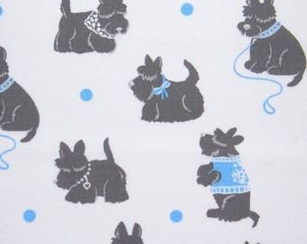 White, blue and black - dog fabric by Michael Miller