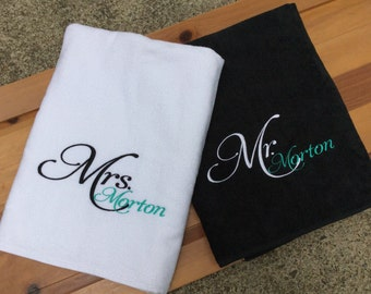 Personalized Mr. & Mrs. Beach Towels / Embroidered/Set of 2 Towels You design it --We create it