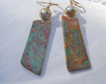 Chinese Turquoise and Gold Earrings