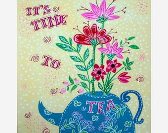 It's time to tea - painting - illustration