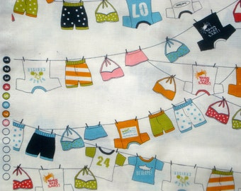 Lucy's Crab Shack clothesline white moda fabric FQ or more OOP HTF