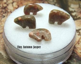 Tiny Zuni Bear Beads Autumn Jasper  you get Four in a Gem Jar