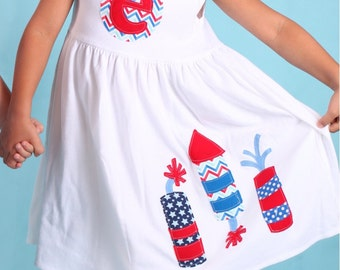 4th of July Fireworks Dress - Personalized Kids Clothing 4th of July