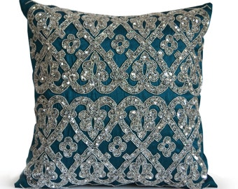 Teal Throw Pillow, Silk Pillowcase, Teal and Silver Pillow, Teal Sequin Pillow, Jeweled Throw Pillows, Luxury Valentines Gifts