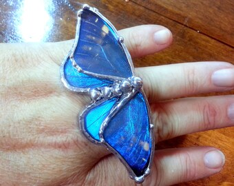 Blue Morpho Butterfly Ring, Real Butterfly Wing Ring, Blue Butterfly Ring, Adjustable Ring