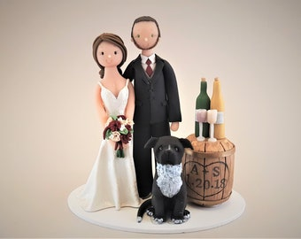 Bride & Groom with a Pitbull Personalized Wine Theme Wedding Cake Topper