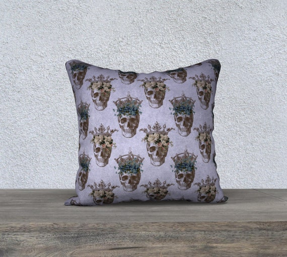 mauve vintage skulls with floral crown pillow cover 18x18 inches