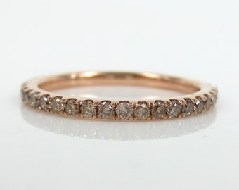 1.8mm Champagne Diamond Pave Eternity 18k Rose gold Band - Stackable-