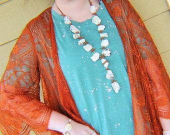western necklace, Slab necklace, Boho neckalce, statement necklace, Boho necklace, bohemian necklace, bohemian slab, slab stone neckalce