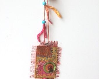 Asymmetric textile long necklace bohemian spirit - textile Necklace