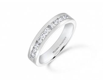 Stunning modern 15 stone round brilliant cut diamond channel set half eternity ring 0.53 carat - Engagement Ring